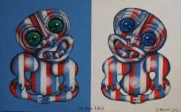 """Les Deux Tikis"" Acrylic on board $450"