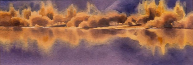 """""""Willows on Lake Hayes"""" Watercolour $700"""