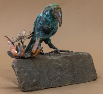 """""""Kea on a rock"""" Recycled metal sculpture $760"""