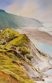 """Cliffs of Hurunui""Watercolour$2,100"