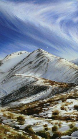 """Mountain & Moon"" Acrylic on canvas $1,500"