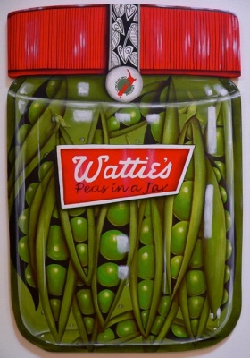 """Peas in a jar"" Acrylic on board $480"