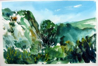 """Into the Hills"" Watercolour $575"