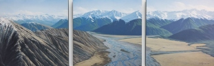 Waimak & the Alps from Mt Binser triptych, oil on canvas SOLD