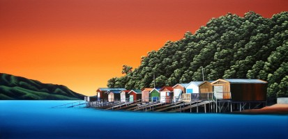 Akaroa Boatsheds Oil on canvas $1,200
