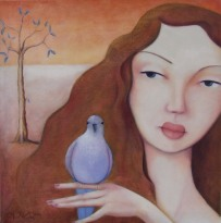 """Blue Bird"" Oil on canvas $995"